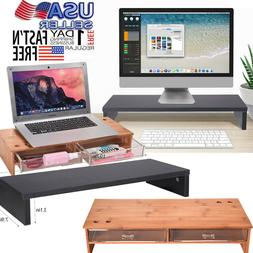 2 Tiers TV Monitor Stand Riser Computer Desktop with Storage