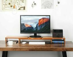 Tribesigns 3 Shelf Monitor Stand Riser Bamboo with Adjustabl