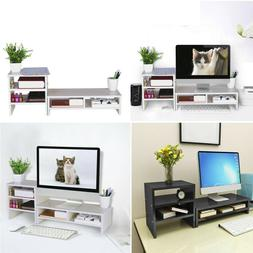 3 Tier Monitor Stand Riser Desktop Laptop TV Holder With Sto
