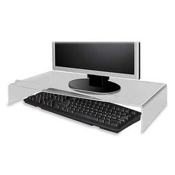 Kantek Acrylic Monitor Stand with Keyboard Storage, Holds up