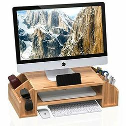 bamboo 2 tiier monitor riser stand adjustable