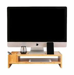 Bamboo Monitor Stand, 2-Tier Monitor Riser with Storage Acce