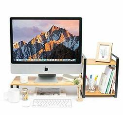 JackCubeDesign Bamboo Monitor Stand Computer Riser with 2-Ti