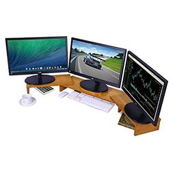Ufine Bamboo Monitor Stand Riser Adjustable Length Angle for