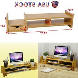 Bamboo Monitor Stand Riser Laptop TV Stand With 2-Tier Stora