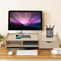 Computer Monitor Stand Riser Laptop TV Stand With 2-Tier Sto