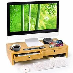 Bamboo Monitor Stand Riser with Drawers, Sturdy Desk Organiz