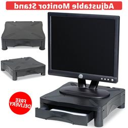 Black Adjustable Monitor Stand With Storage Drawer 14.00 x 1