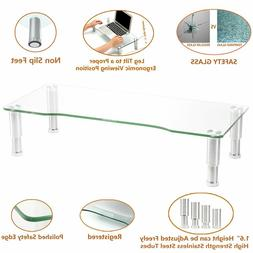 Clear Computer Monitor Riser with Height Adjustable Multi Me