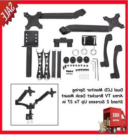 Dual LCD Monitor Spring Arms TV Bracket Desk Mount Stand 2 S