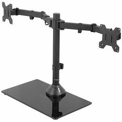 VIVO Dual Monitor Adjustable Mount w/ Glass Base Stand for 2