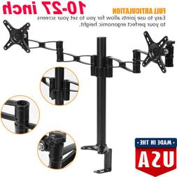 Dual Monitor Arm Desk Table Mount Stand For 2 LCD Fully Swiv