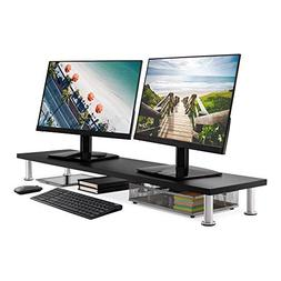 Large Dual Monitor Stand for Computer Screens - Solid Bamboo