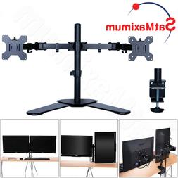 Dual Monitor Desk Stand Adjustable Mount Tilt 2 Computer Scr
