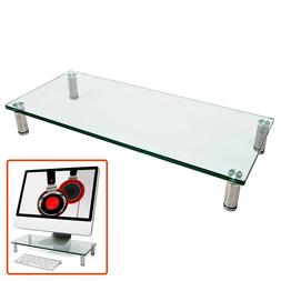 Glass Monitor Laptop Stand Display Riser Desk Table Top Shel