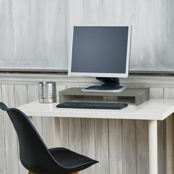 Gray Computer Monitor Stand With Keyboard Shelf Tabletop Des