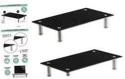 Height Adjustable Glass Monitor Stand 2 Pack - 16 x 9.5 Inch