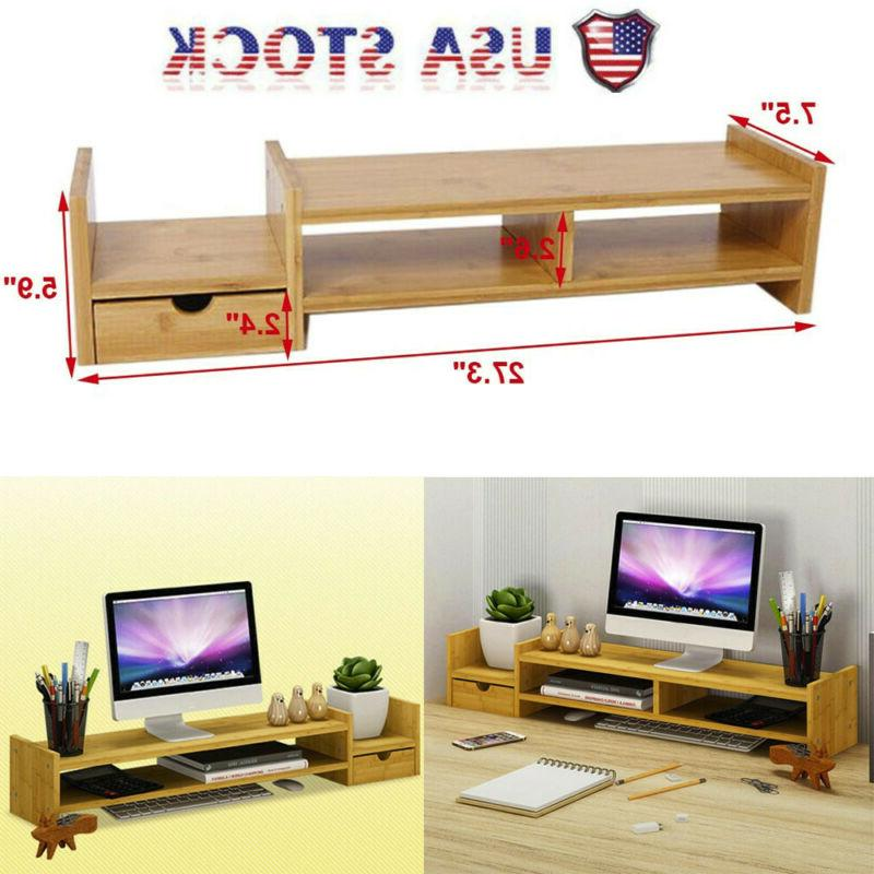 bamboo monitor stand riser laptop tv stand