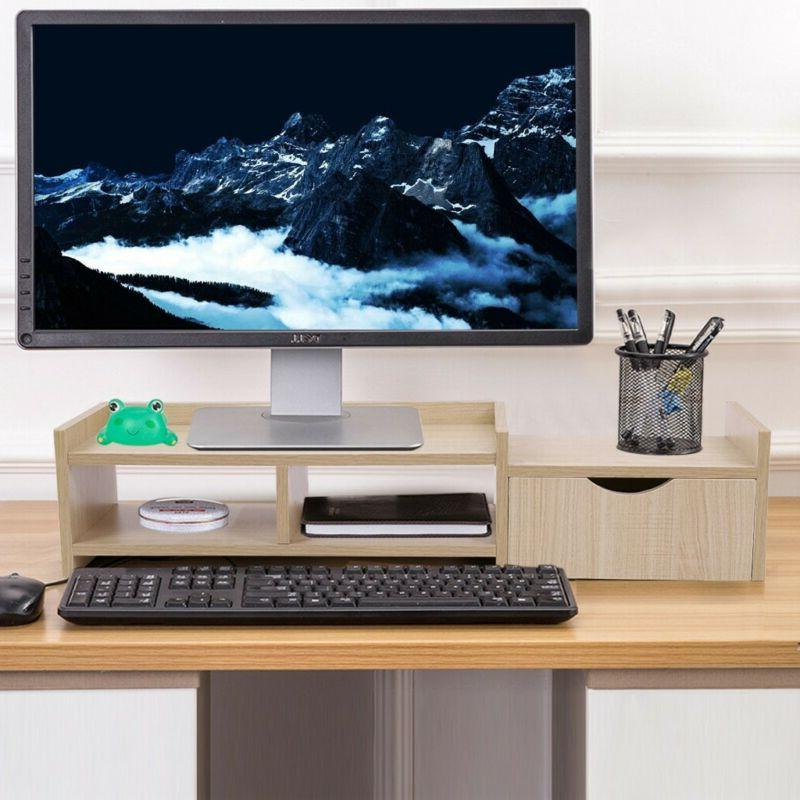 Bamboo Monitor Stand Riser 2-Tier Laptop TV Stand With Stora