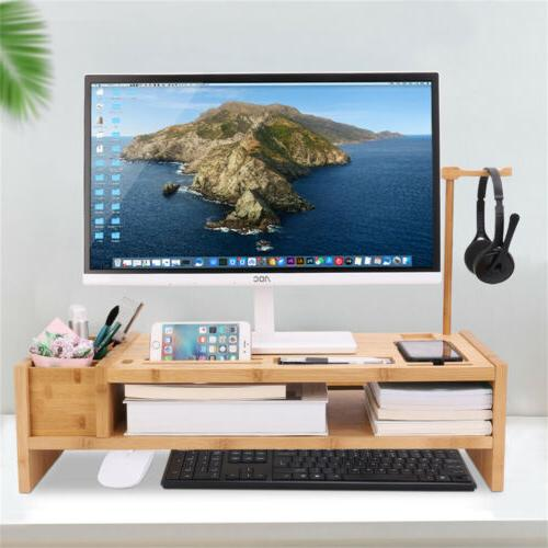 Bamboo Monitor Riser Plinth Stand For Laptop Printer