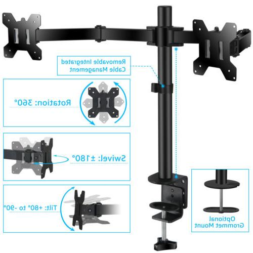 Heavy Duty 2 Monitor Arm Desk Table Mount Stand Double-end f