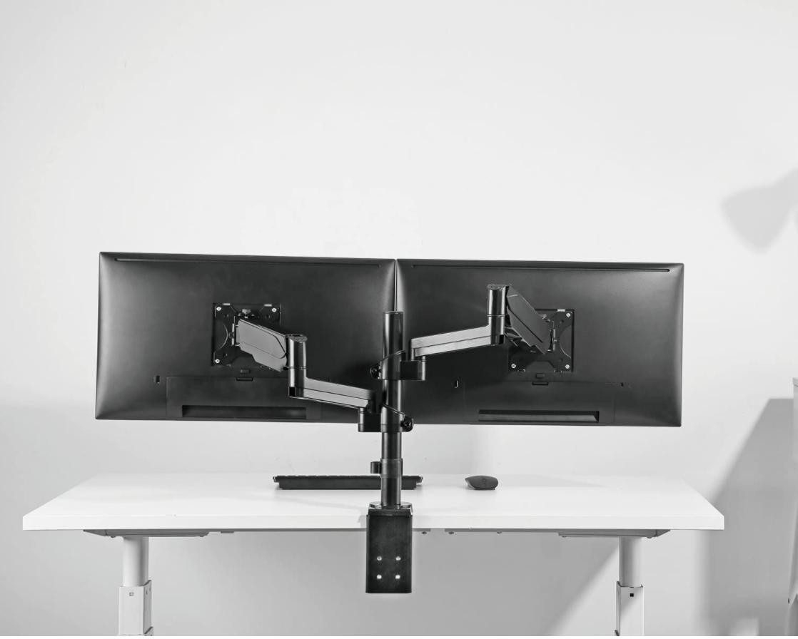 dual monitor desk mount fully