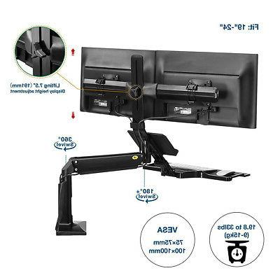 North Dual Monitors Sit Stand Desk Converter Height