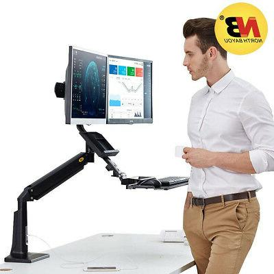 dual monitors sit stand mount stand desk