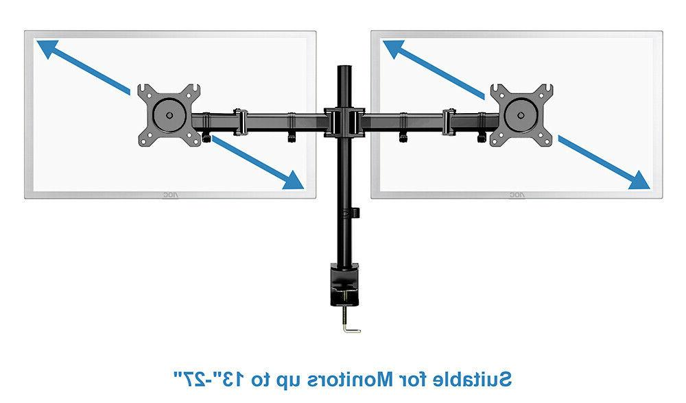 Dual Motion Mount Height Adjustable Stand with Clamp Cable Holder