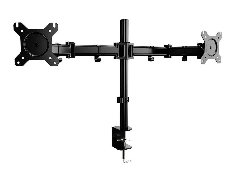 Dual Monitor Arm Mount Height Adjustable with Clamp Cable Holder