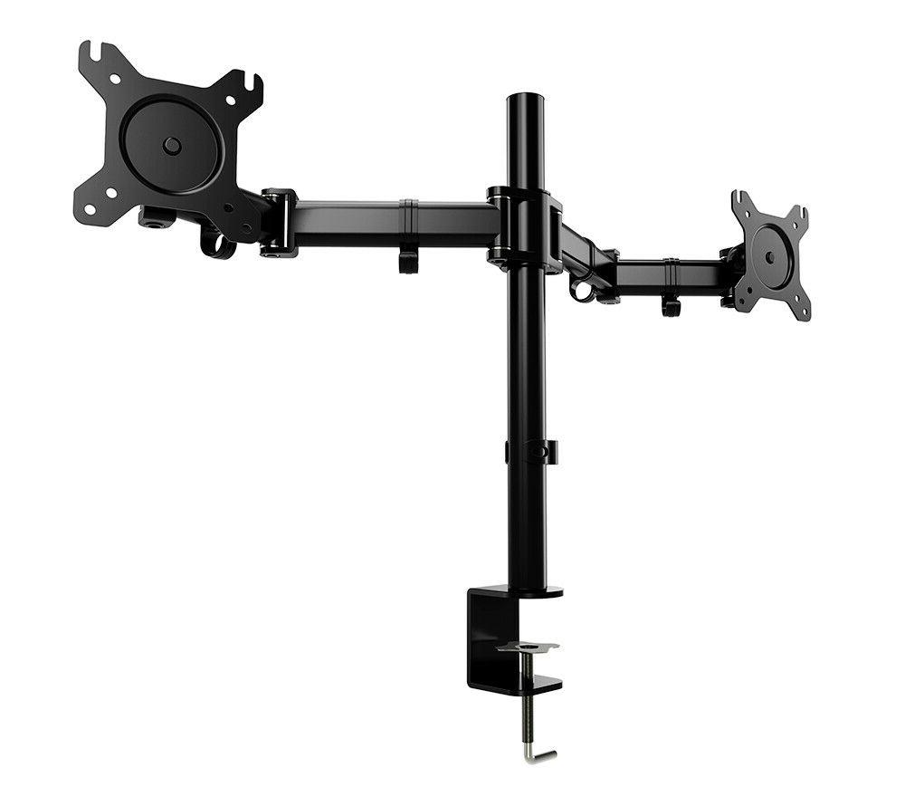 Dual Monitor Mount Height Adjustable Stand with Clamp Holder