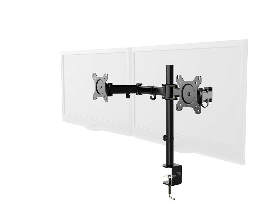 dual motion monitor arm mount height adjustable