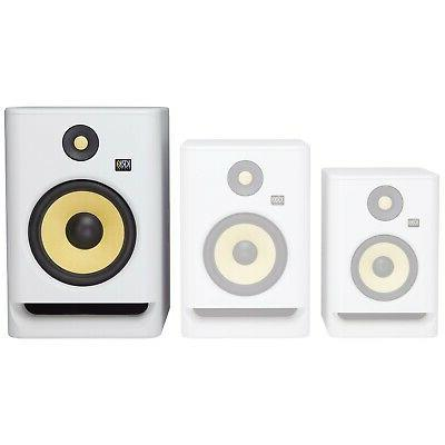 """RP8G4 8"""" Active Studio Speakers White w Stands"""