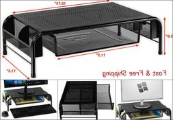 Metal Desk Monitor Stand Riser with Organizer Drawer For Hom