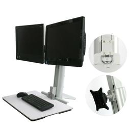 Monitor Desk Vertical Stand Mount Single Dual LCD Fit 1 or 2