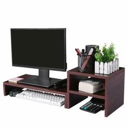 Monitor Stand Adjustable Computer Riser with 2-Tier Storage