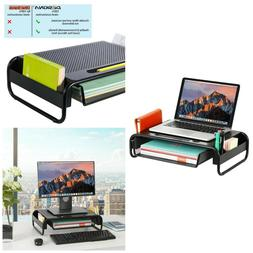 Monitor Stand With Pull Out Storage Drawer Mesh Metal Laptop