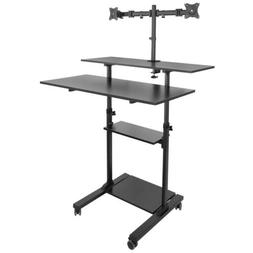 Mount-It! Mobile Standing Desk with Dual Monitor Mount   40