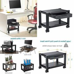 Printer Stand Monitor Stand Cart 4 Rolling Wheels Storage Dr