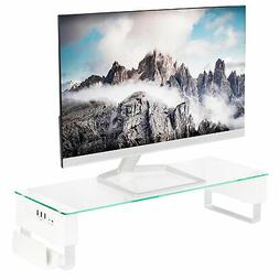 VIVO Tempered Glass Surface Smart Monitor Riser Stand with U
