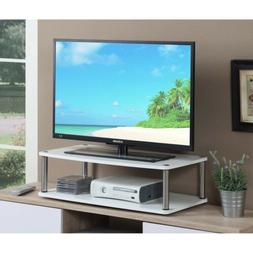White 2 Tier TV Monitor Swivel Stand XLarge Tabletop Base Ro