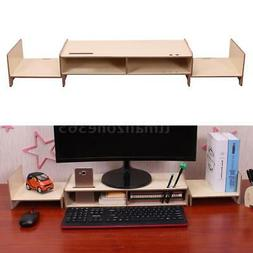 Wood Large Computer Monitor Screen Display Riser Desk Stand