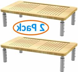 2 Pack Bamboo Adjustable Computer Monitor Riser Desk Stand.
